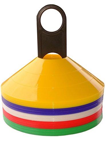50er Set Markierungshütchen (10 Stück je Farbe: rot, weiß, gelb orange, blau) - Markierhütchen, Markierhauben, Markierteller