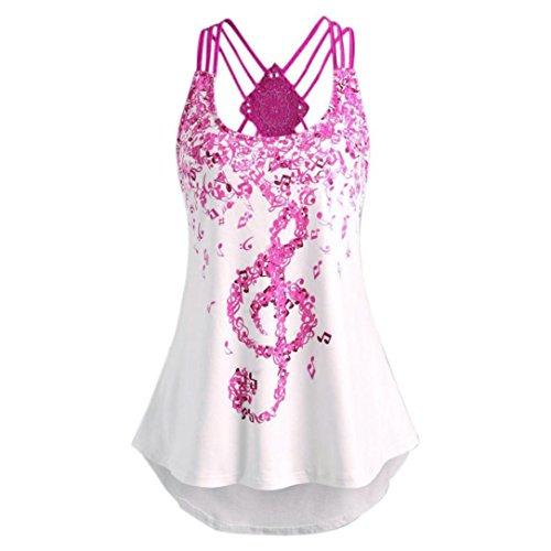 Schlinge Oberteile Tops Frauen, ZIYOU Mode Beiläufig Weste / Elegante Damen Sommer Rundhals T-Shirt Einfarbig Ärmellos Tanktops mit Bandagen (Rosa-rot -B, EU-42 / CN-L)
