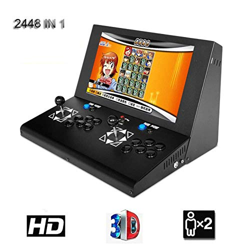 HLLGAME Pandora's Box 3D Home Arcade Game Console Konsole, 2 Spieler, 1280x720 Full HD Multiplayer Arcade Joystick Spiele, 2448 Spiele All in 1 Double Stick Buttons Power HDMI/VGA/USB/AUX, SZ-08