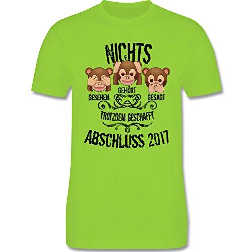 Abi & Abschluss - 3 Affen Emojis ABSCHLUSS 2017 - Herren Premium T-Shirt Hellgrün