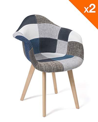 KAYELLES Lot de 2 chaises scandinaves Patchwork NEDA (Patchwork Bleu)