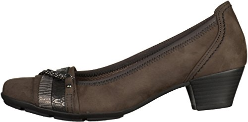 Turin Gabor Low Heel Court WithTrim Grigio