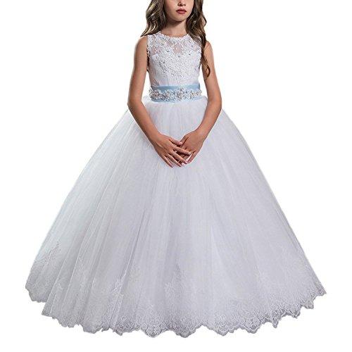 rpe lange Kind Abschlussball Puffy Festzug weiße Blumen Mädchen Kleider (11) (Erste Kommunion Kleider Puffy)