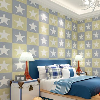 DUOCK Amerikanische Kinder Wallpaper Stars Non Woven bunte Wand Papierrolle Mädchen Schlafzimmer Kontakt Papier Boy Wallpaper für Wände, Hellgrün, 53 CM X 10 M (Boy Kontakt Papier)