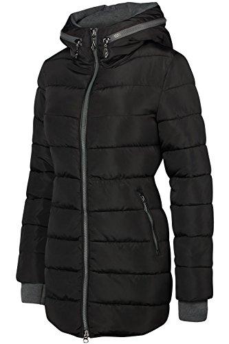 Winter Damen STEPP Mantel LANG Jacke GEFÜTTERT Kapuze ÄRMEL MIT DAUMENSCHLAUFEN, Farbe:Schwarz, Größe:L - 2