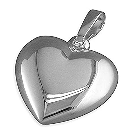 Puffed Heart Sterling Silver Pendant - On 20