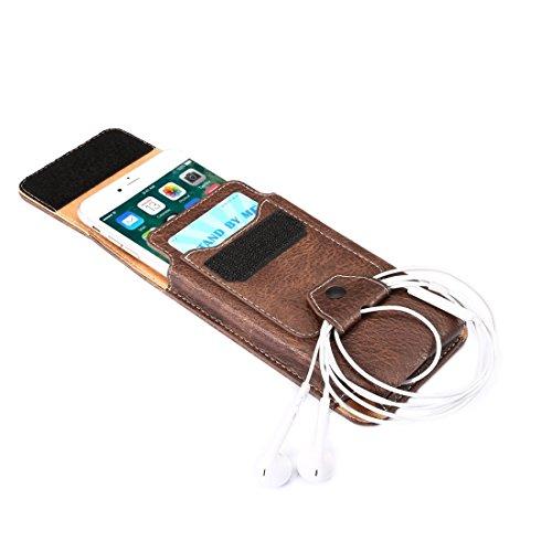 Fall für iPhone 7 u. 6s u. 6 vertikale Flip Retro Elefant-Beschaffenheits-Leder-Kasten / Taillen-Beutel mit Kartenschlitzen u. Rückseitige Schiene u. Wölbung u. Kopfhörer-Loch by diebelleu ( Color : B Coffee