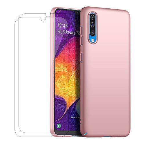 XIFAN Hülle + [2 Stück] 9H Gehärtetes Glas-Displayschutz für Samsung Galaxy A50, Ultraleichter Hard PC Hülle, Seidenmatte Lackierung Schutzhandytasche. Rosa