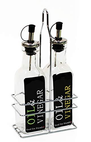 Bambelaa! Menage Set Essig Öl Spender Ständer Flaschen Glas Halter Tischset Ausgießer Ölflasche Essigflasche 2 x 250ml