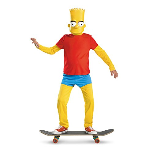 The Simpsons Bart Simpson Deluxe Costume, Red/Yellow/Blue, Large/10-12