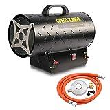 Hengda 30kW Gasheizgebläse Heißluftgenerator mit 650 m³/h Luftdurchsatz Gas Heizgerät inkl. Gasschlauch und Druckminderer Gasheizer Heizkanone
