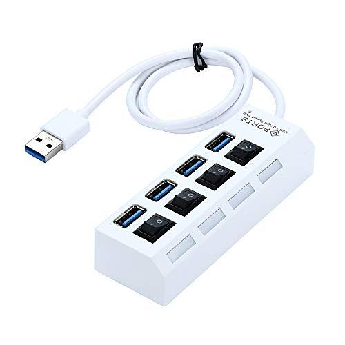 samLIKE Hub USB 3.0 mit Schalter Dockingstation mit 4 Port Verteiler SuperSpeed bis zu 5Gbp Datenhub mit Power LED für PC/Netbook/Laptop/Ultrabook und Viele Weitere Geräte (Weiß)
