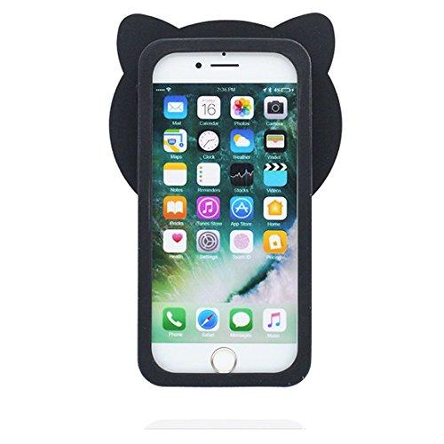 """iPhone 6 Plus Coque, Étui Cover pour iPhone 6s Plus 5.5"""" Cartoon 3D poulet chick en Gel TPU iPhone 6 Plus Case (5.5"""") Résistant à la poussière Scratch & ring Support de téléphone Noir"""