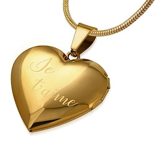 BOBIJOO Jewelry – Herz-anhänger Trägt, Kamera-Nachricht Frau Ich Liebe Dich, Für Das Leben Gold oder Silber