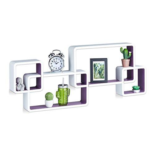 Relaxdays 10021901_749 mensole da muro cube, 4 cubi da parete, design moderno, legno mdf, hxlxp: 42x104x10 cm, bianco-viola