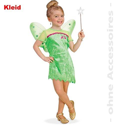 Lilyane 116 Mädchen Kleid grün Pannesamt Kinder-Kostüm Fasching ()