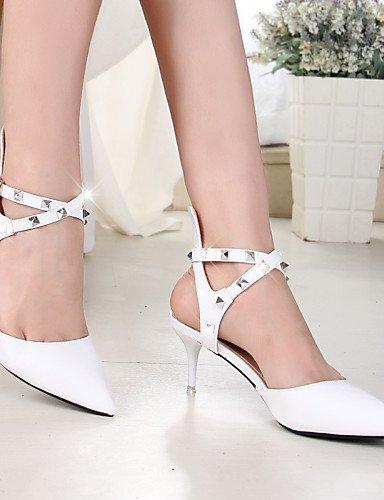 UWSZZ IL Sandali eleganti comfort Scarpe Donna-Scarpe col tacco-Matrimonio / Ufficio e lavoro / Casual-Tacchi / A punta-A stiletto-Finta pelle-Rosso / Bianco White