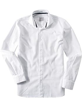 Signum Herren Hemd Kent Baumwolle & Mix Oberhemd Unifarben, Größe: M, Farbe: Weiß