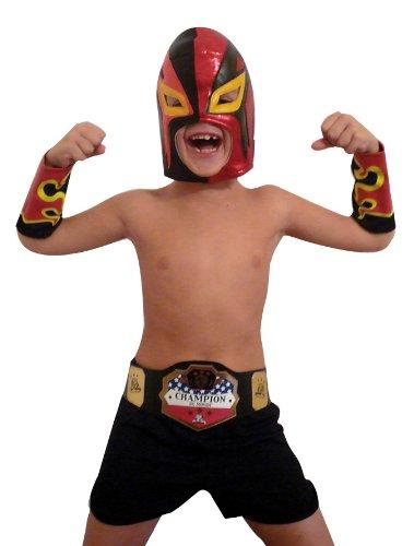 Rubies - Disfraz de luchador mexicano de pressing catch (lucha libre) con careta, antebrazos y pantalón para niño