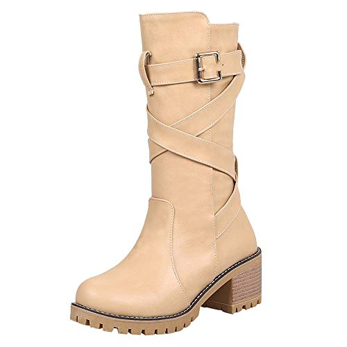 S&H-NEEDRA Frauen Wedges Booties Middle Tube Leder Stiefel Schuhe Schnalle Boot