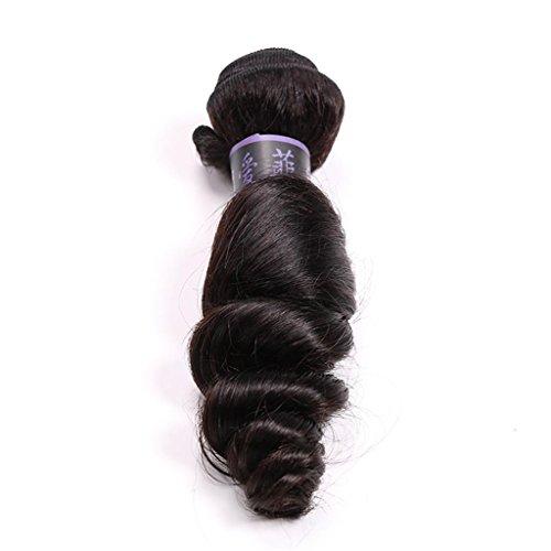 Weben Erweiterungen (HJXJXJX 1 Pakete packen JERRY brasilianischen natives locken weben Erweiterungen locken Schuß 100 % Echthaar natürliche schwarze Haarfarbe , 12 inch natural color)