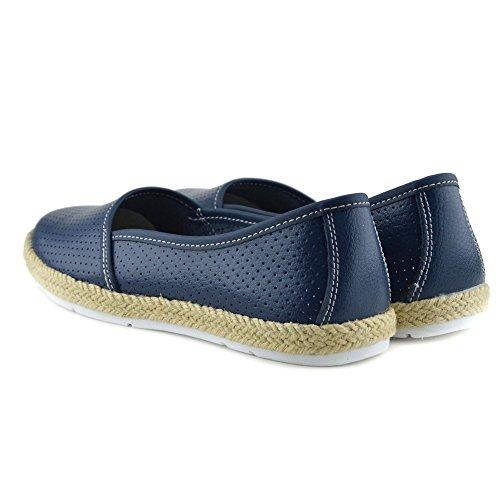 Kick Footwear - Donna a Piedi in Pelle Naturale Slip on Scarpe Casual Marina
