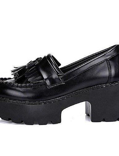 ShangYi Scarpe Donna - Mocassini - Casual - Chiusa - Quadrato - Finta pelle - Nero Black