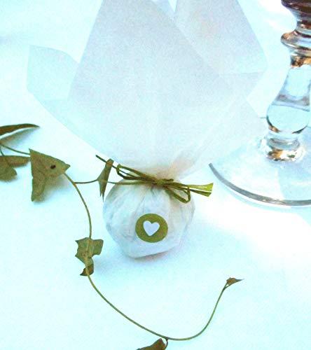 Die Seedball-Manufaktur moos Seedball Gastgeschenk mit Herz Weißes Seidenpapier mit dunkelgrüner Bastschleife 2,5 x 2,5 x 6 cm (Bezahlung Für Artikel In Den Warenkorb)