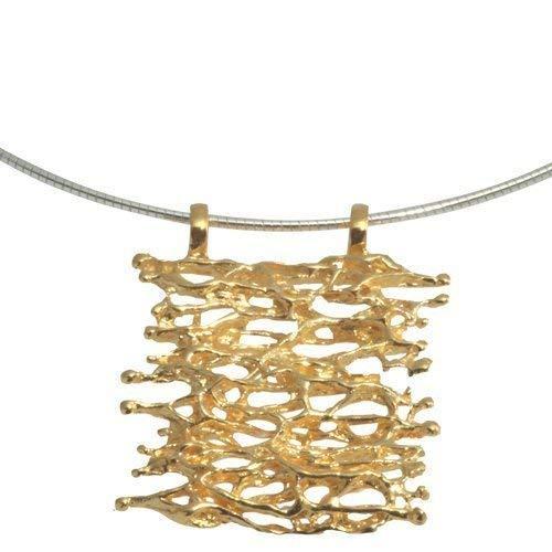 Anhänger hochwertige Goldschmiedearbeit aus Deutschland (Sterling Silber 925 vergoldet) Design Anhänger, Damen Anhänger für Kautschukketten, Silberketten, Omegareif, Lederketten