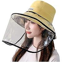 NINGNETI Sombrero Gorra Protector Anti-Saliva Cubierta A Prueba De Polvo Gorra Con Visera Tapa TamañO Ajustable Cap Facial Visera Transparente NS-0330A33 (Amarillo)