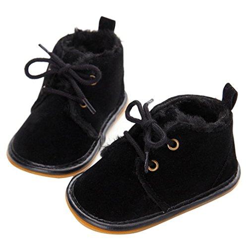 Mingfa Baby-Winterstiefel, warme und dicke Kleinkinder-Fellschneeschuhe zum Schnüren für Jungen und Mädchen, für das Kinderbett, erste Laufschuhe für 0 - 18Monate Age:12~18 Month Schwarz