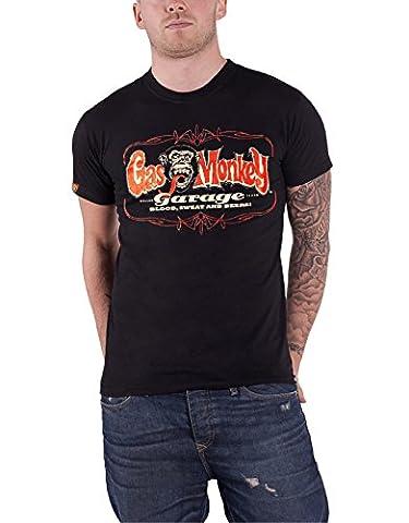 Gas Monkey Garage T Shirt Pinstripe Dallas Texas Logo officiel Homme nouveau