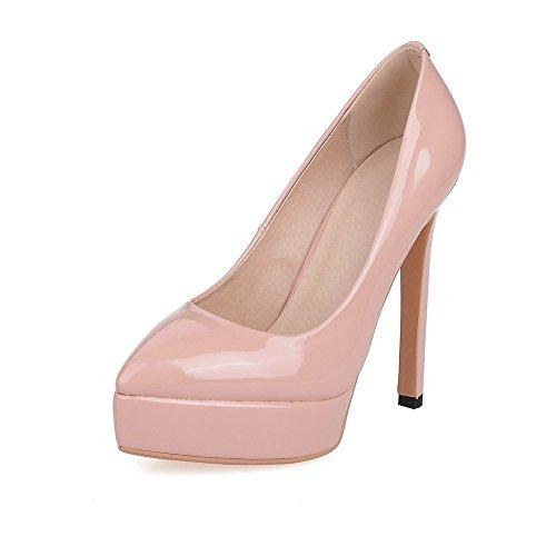 AgooLar Damen Ziehen Auf Spitz Zehe Hoher Absatz Pu Leder Rein Pumps Schuhe Pink