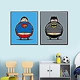 FA LEMON Obesidad Habitación Infantil Creativa Lienzo Pintura Dormitorio para niños Arte de la Pared Habitación para niños Decoración del hogar-40x60cmx2 Piezas sin Marco
