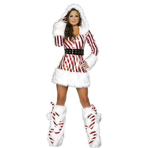 Kostüm Mr White Und Mrs - ZSDFGH Womens Weihnachtsmann-Kostüm-Weihnachtskostüm Cosplay Xmas Outfit-Abendkleid-Satz,White-XL