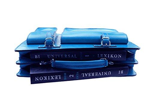 Aktentasche Lehrertasche Crown in diversen Farben   Echtes Leder Made in Italy   Umhängetasche (B40xH30xT10) Koenigsblau