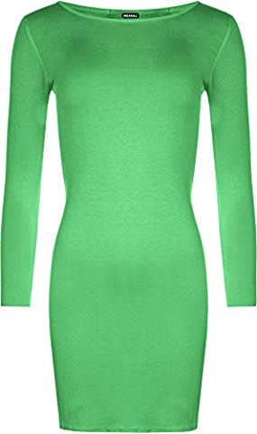 Ladies Plus Size Bodycon Stretch Long Sleeve Dress Womens Plain