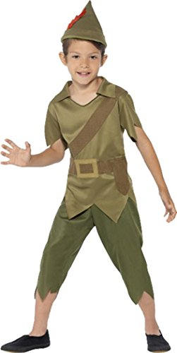 Kinder Jungen Fancy Party Kleid Buch, Woche Tag Robin Hood Kostüm Outfit Gr. S Alter 4-6, grün (Alte Robin Kostüme)