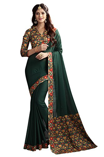 Zaparia Women's Multicolors Georgette Printed Less Border Saree With Blouse Piese (Green)