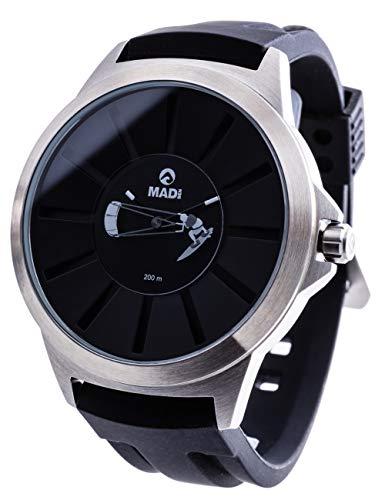 MADSEN Watches Move B43 Kitesurfing Tarifa - Orologio da polso da uomo impermeabile con meccanismo al quarzo svizzero I analogico orologio sportivo outdoor I cassa in acciaio inox IP nero