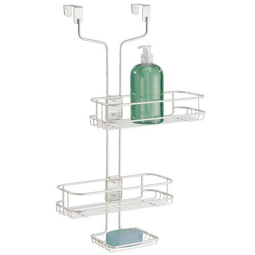 mDesign rangement de douche suspendu – étagère de douche pratique – montage sans perçage – paniers de douche ajustables en acier affiné pour tout accessoire de douche