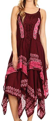 Sakkas B66 Batik Korsett Style Bodice Taschentuch Hem Kleid - Burgundy/Pink - One Size