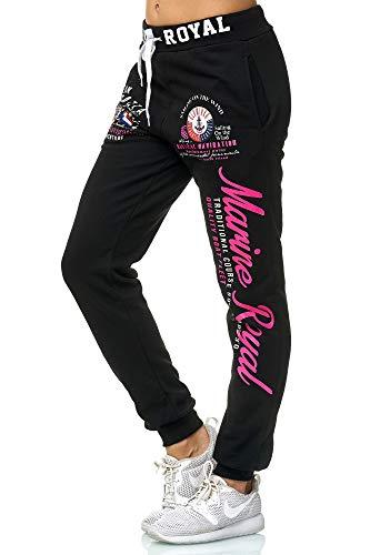 Violento Damen Jogginghose Design Marine Royal (L=Fällt Groß aus, Schwarz/Pink.)