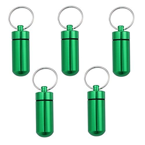 HEALIFTY 5 Stück Medikamentenbox für die Einnahme von Aspirin kalten Tabletten Schmerzen Medikamente Vitamine Id Tag Notizen (Grün) -