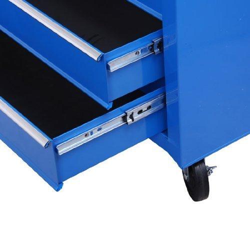 Homcom® Fahrbarer Werkstattwagen Werkzeugwagen Rollwagen Werkzeugkasten mit 5 Schubladen blau - 5
