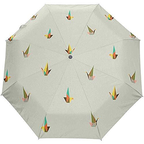 Merle House Automatische Regenschirme Orange und Grün Floral Golf Travel Sun Rain Winddicht Auto Open Close Regenschirm mit UV-Schutz