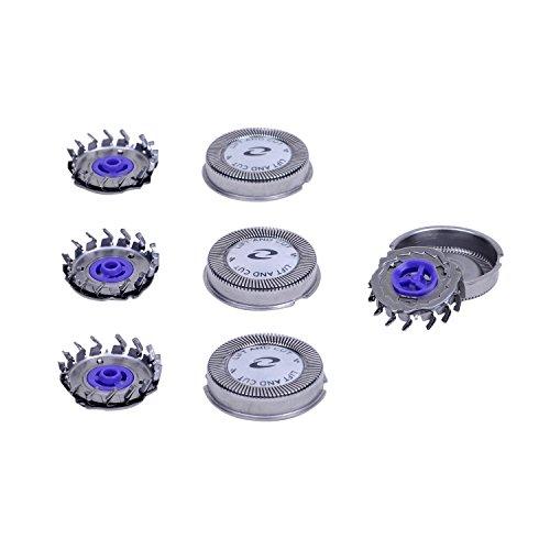 Ersatzscherköpfe Scherköpfe für Philips Elektrorasierer HQ4+ HQ55 HQ40 HQ851 HQ912 HQ46, Silber, 3er Pack