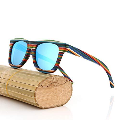 DAIYSNAFDN Handgemachte hölzerne Bunte Rahmen-Sonnenbrille polarisierte Eyewear-Brillen-reflektierende Linse Same Pictures 12