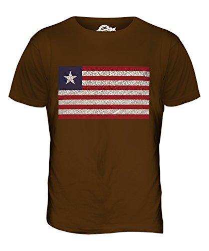 CandyMix Liberia Kritzelte Flagge Herren T Shirt Braun
