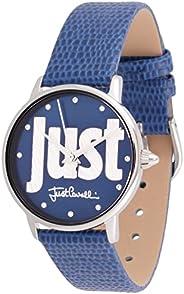 ساعة مع شعار للنساء من جاست كافالي مع مينا باللون الازرق وسوار جلدي وعرض انالوج - طراز JC1L116L0015